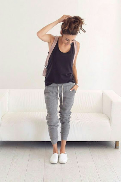 Sweatpants with black tank