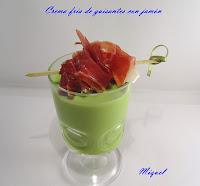Menú de la Castanyada 2011.Crema fría de guisantes con jamón