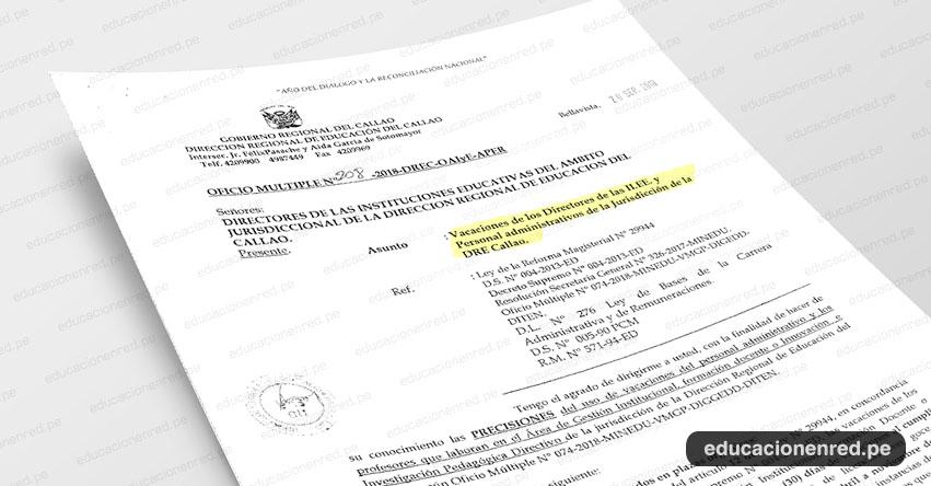 OFICIO MÚLTIPLE N° 208-2018-DREC-OAIyE-APER - Vacaciones de los Directores de las II.EE. y Personal administrativos de la Jurisdicción de la DRE Callao - www.drec.gob.pe