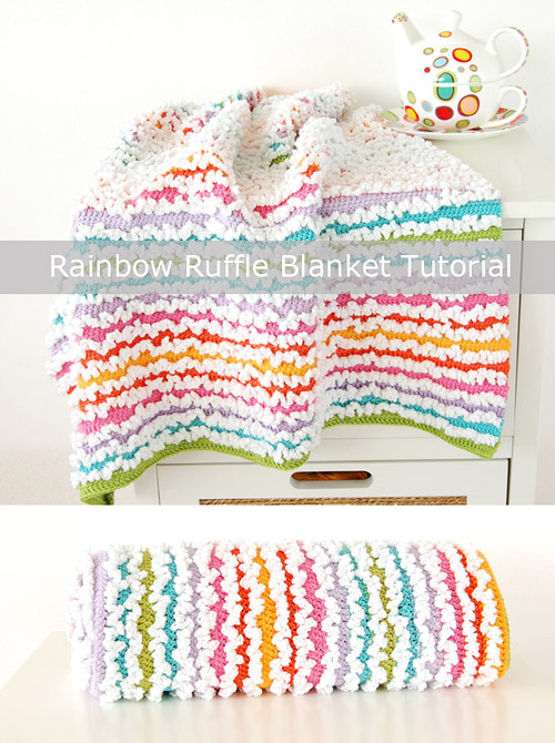 Free Rainbow Ruffle Blanket Tutorial