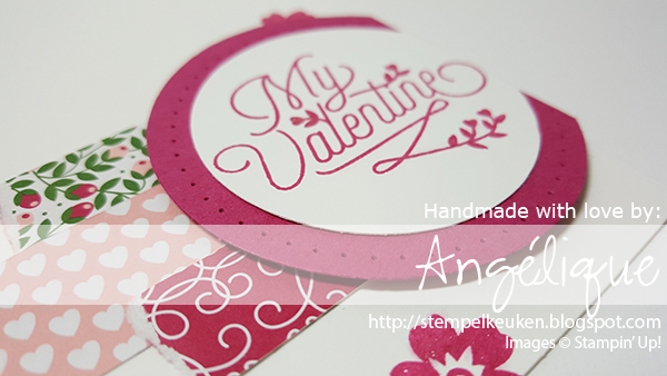 "http://stempelkeuken.blogspot.com De Stempelkeuken Bloomin' Love, Love Blossoms DSP, Whisper White, You're So Lovely, Rose Red, Garden Green, Wink Of Stella, 2"" Circle Punch, 2 1/2"" Circle Punch, Rhinestone Basic, Big Shot, Large Numbers Framelits"