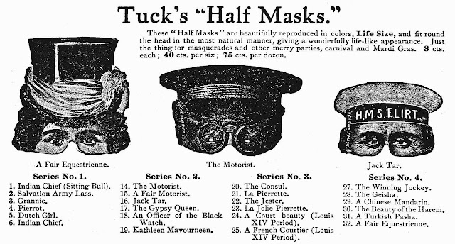 "Tuck's ""Half Masks"", 1911 masks from a catalog"