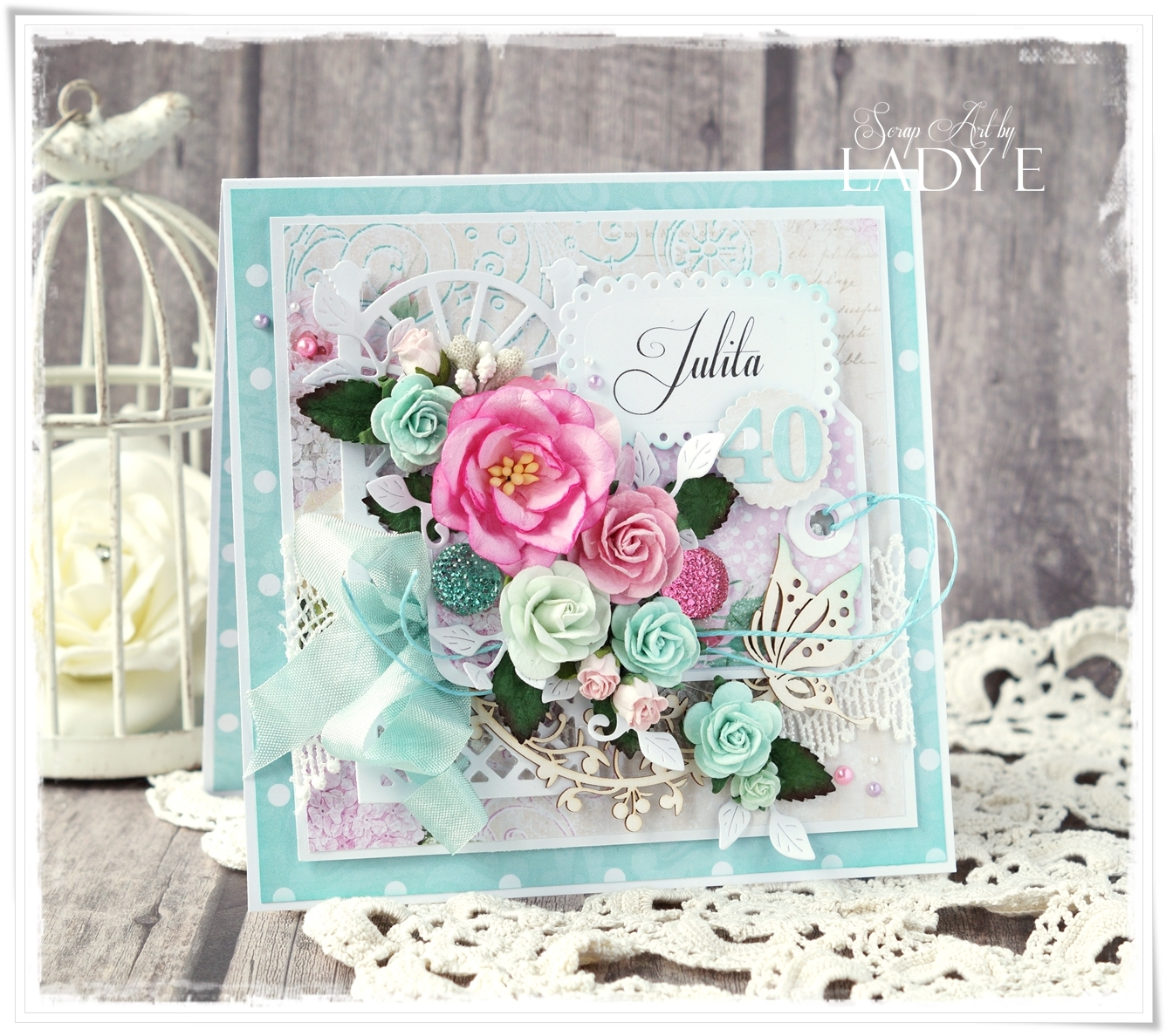 40th Birthday Card Wild Orchid Crafts Dt Scrap Art By