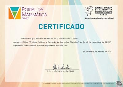 Certificado Portal da Matemática