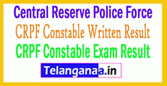 CRPF Constable Result 2019 Written Exam Score Card