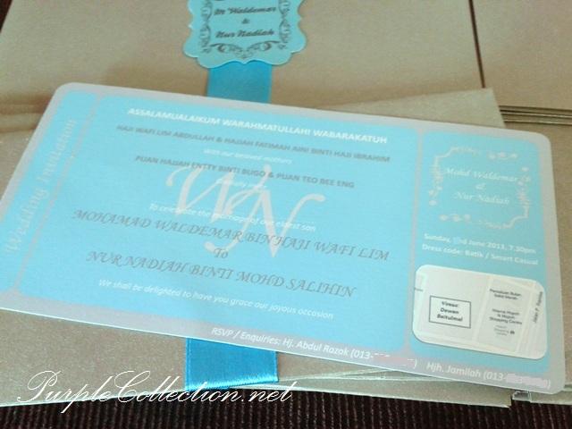 Light Blue, Boarding Pass Wedding Card, Travel Wedding Card, flourish tag, pearl silver card, art card, malay wedding card, western wedding card