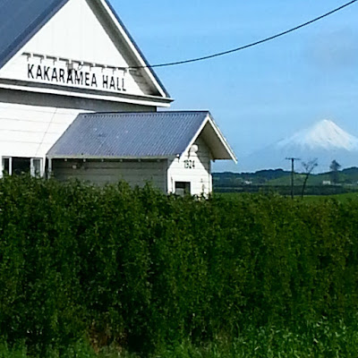 Kakaramea Hall with Mount Taranaki in the background.