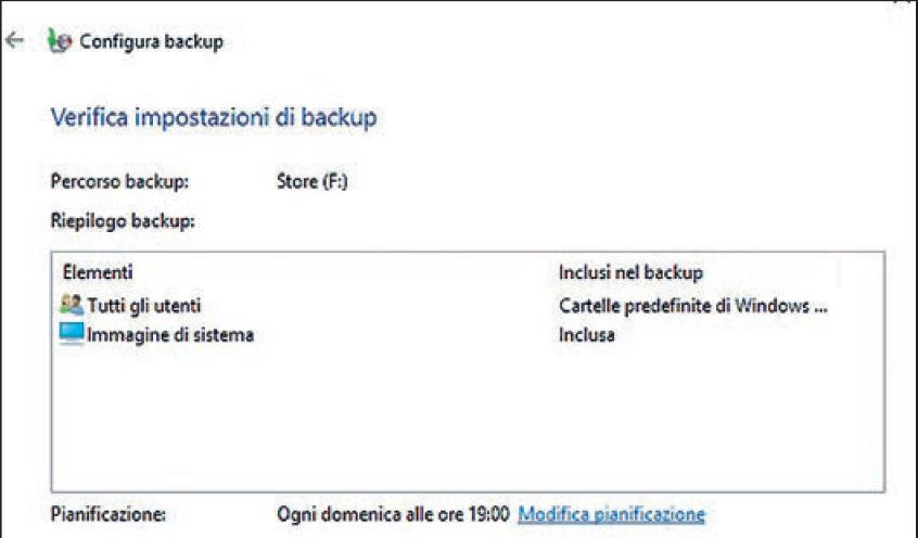 impostazioni del backup di windows 10