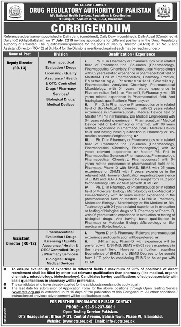 DRAP Jobs 2019 Drug Regulatory Authority in Pakistan  Download OTS Application Form