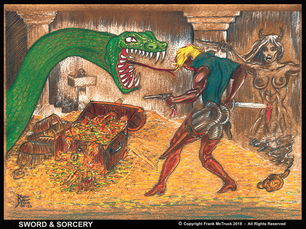 """A Frank McTruck color pencil drawing - """"Sword and Sorcery"""""""