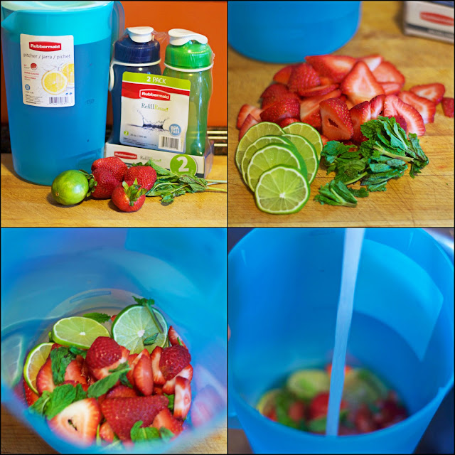 The step by step picture instructions for the infused water.