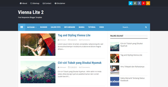 Vienna Lite 2 blogger teması, ücretsiz blogger temaları, seo dostu blogger temaları, free blogger template