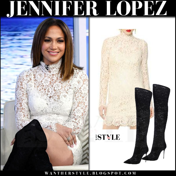 Jennifer Lopez in white lace high neck dolce gabbana cordonetto mini dress and black boots what she wore today show