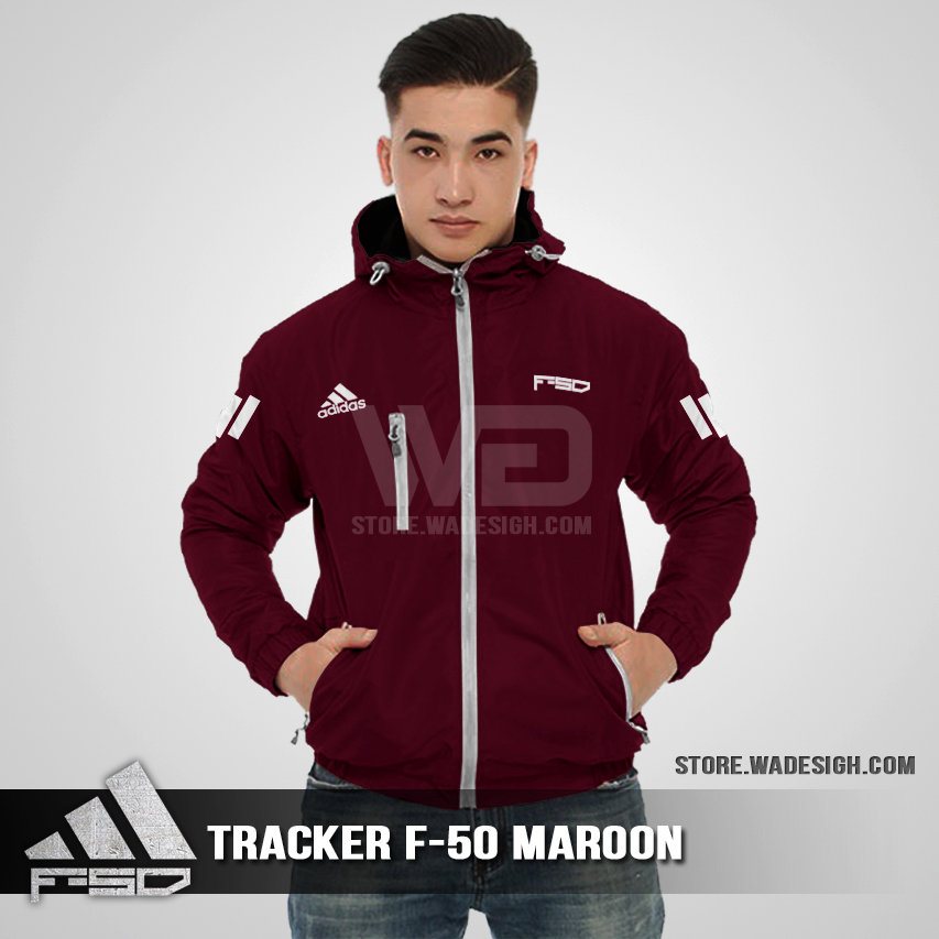 Jaket Tracker Waterproof Adidas F-50 Maroon