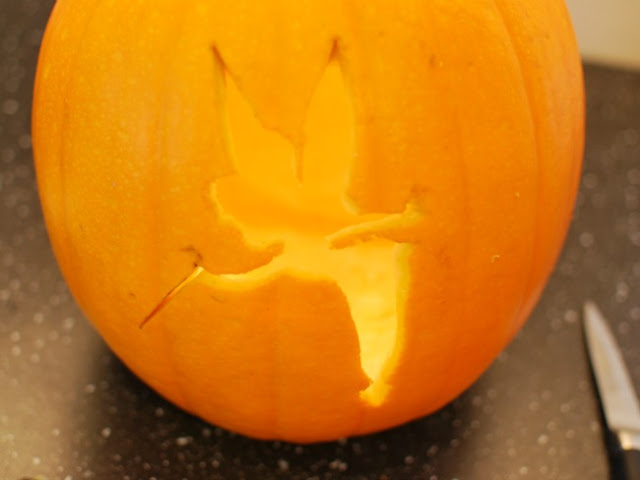 Pumpkin with Tinkerbell cut out