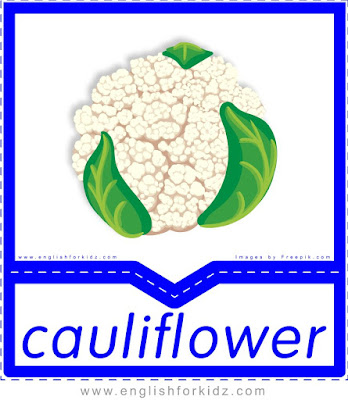 Cauliflower - English flashcards for the fruits and vegetables topic
