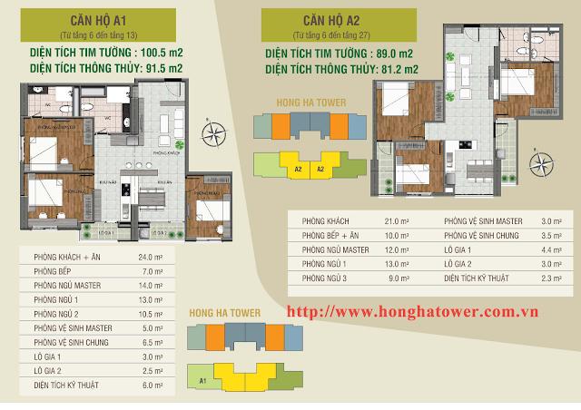 Mặt bằng thiết kế căn hộ A1 và A2, Hồng Hà Tower