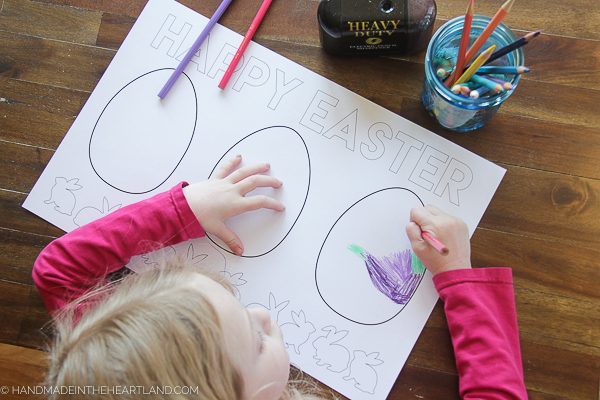 Free printable Easter Egg Color Page Placemat