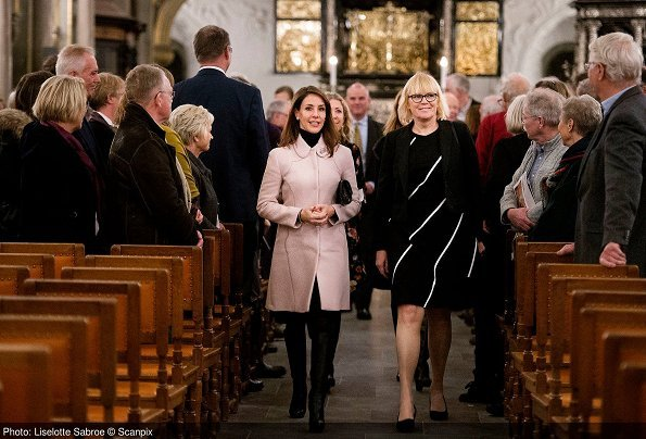 Princess Marie wore Giambattista Valli Textured Flared Coat, Jimmy Choo Boots, Carlend Copenhagen clutch