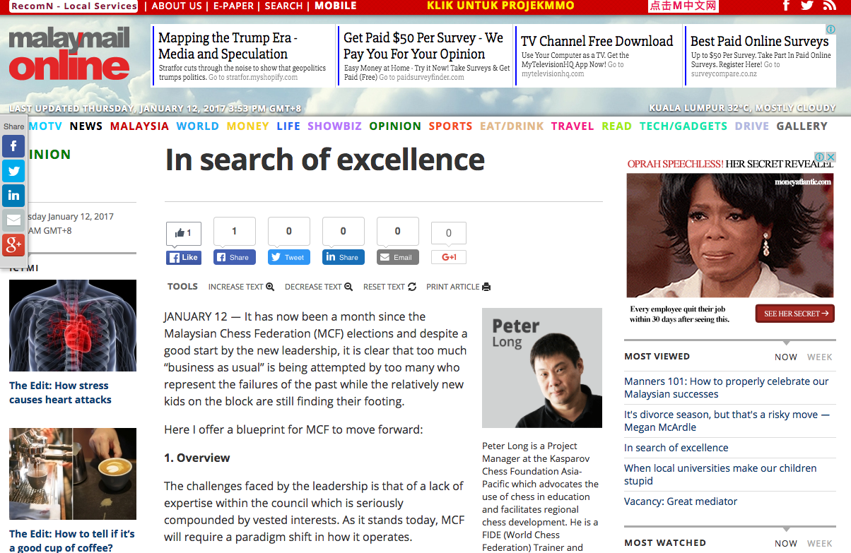 Peter Long On Chess: Malay Mail Online: In Search Of