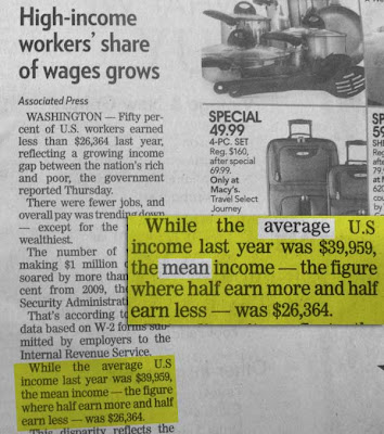 Pioneer Press AP story with highlighting, showing the wording: While the average income was X the mean -- the figure where half earn more and half earn less -- was X