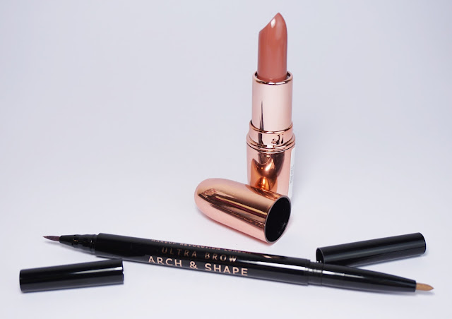 Makeup Revolution Rose Gold Lippenstift (Chauffeur), Doppel Augenbrauen Liner (Light)