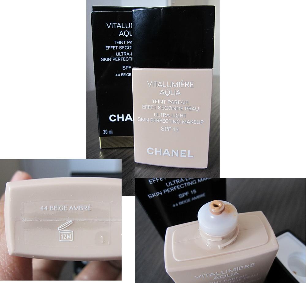 In Retrospect Chanel Vitalumiere Aqua Foundation 44 Beige Ambre Vitalumire Ultra Light Skin Perfecting Makeup Spf 15