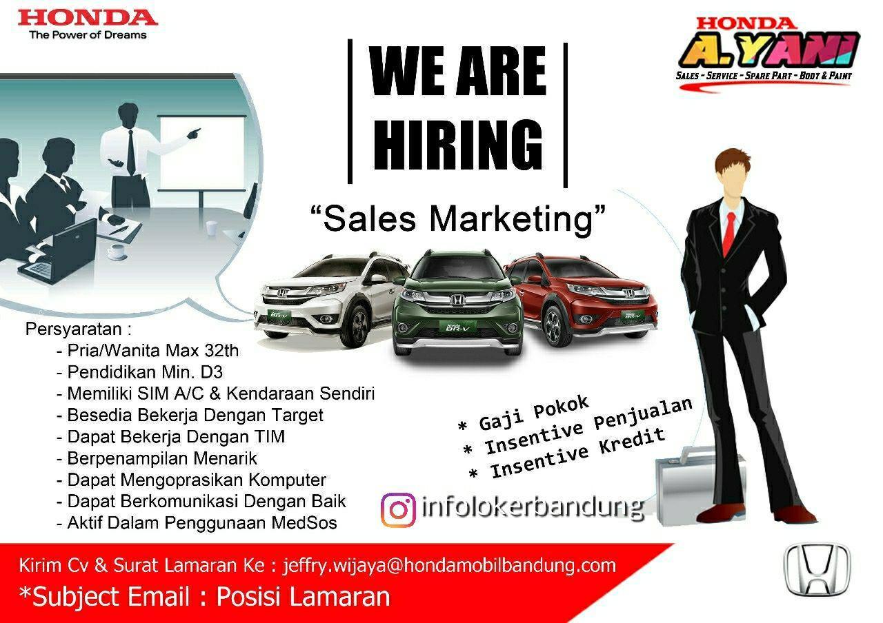 Lowongan Sales Marketing Honda Ahmad Yani Bandung April 2018