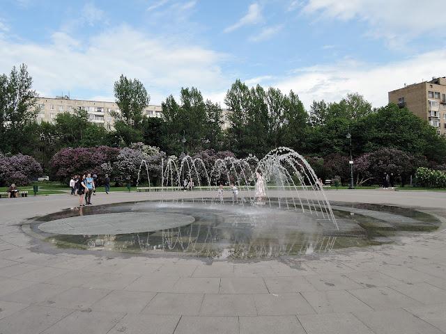 сиреневый сад фонтан