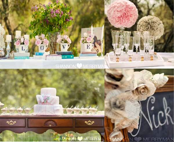 Outdoor Wedding Shower Vintage Table Decorations UK