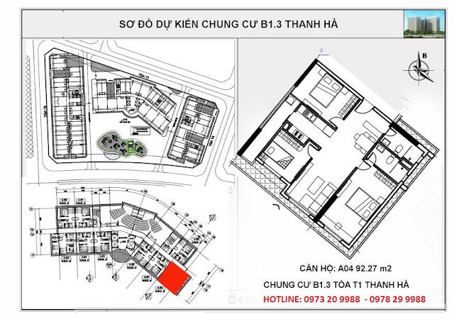 Sơ đồ mặt bằng chung cư B1.3 Thanh Hà tòa T1 căn hộ A04