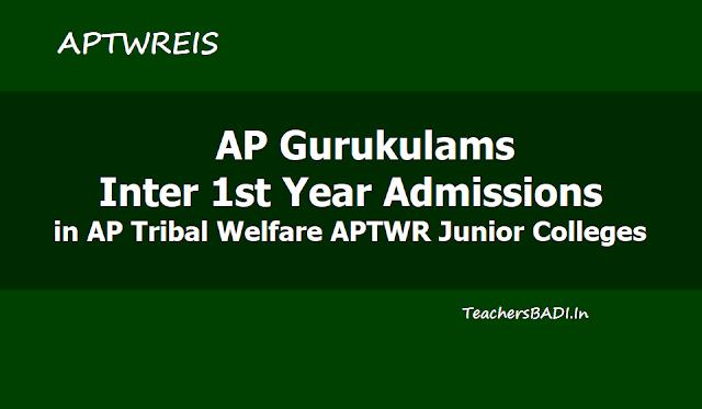 APtwreis Gurukulam Inter 1st year Admissions 2019 in AP Tribal Welfare APTWR Junior Colleges