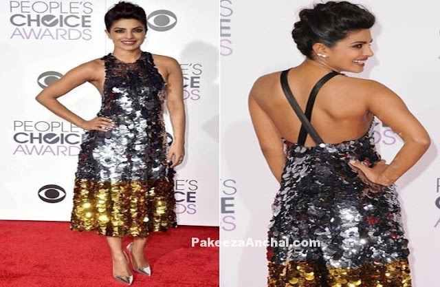 Priyanka Chopra in Gold Silver Sequin Sleeveless Midi