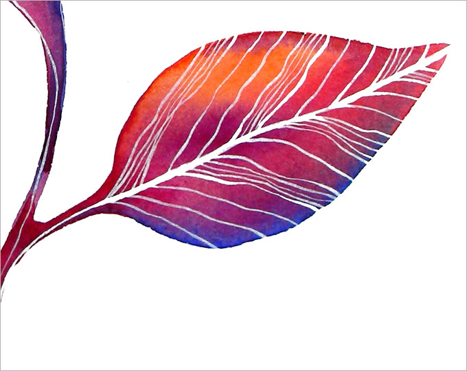 "Printable Art Print ""Autumn Leaf"" - watercolor print - nature - colorful leaf illustration"