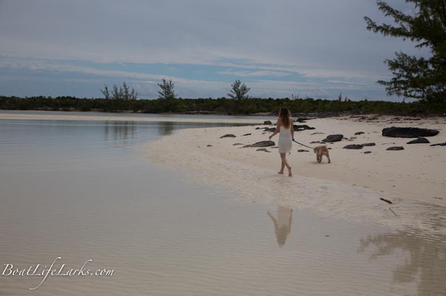 Walking on Shelling Beach, Great Harbour Cay, Berry Islands