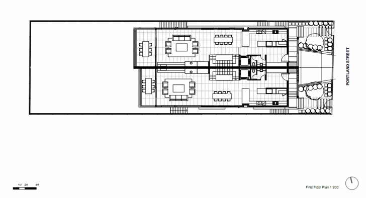 Second floor plan of Portland Street Duplex by MPR Design Group