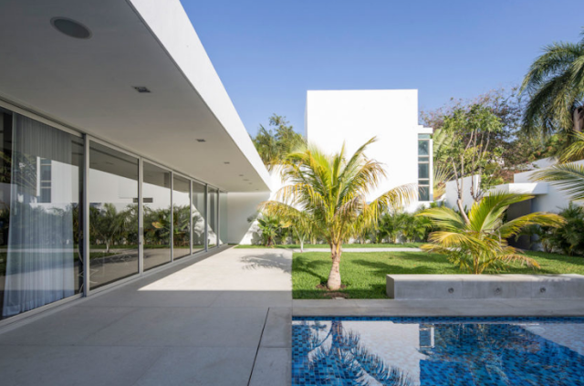 Exterior views of the house with white walls and beautiful gardens with palm trees