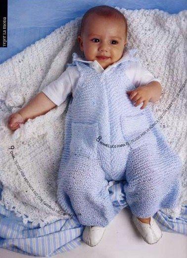 enterizo tejido en dos agujas para bebes