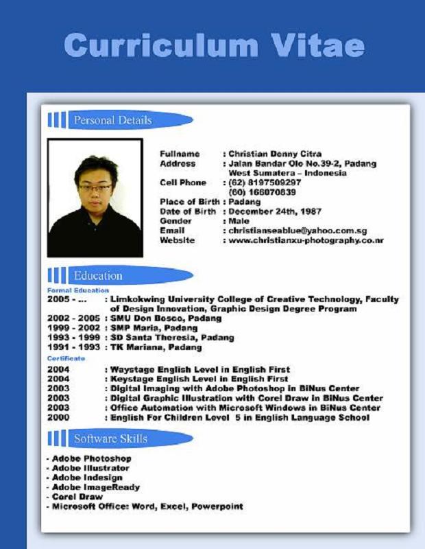 Cv Resume Resume Format Resume Samples Circum Vitae Format