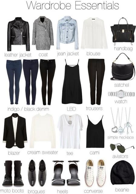 Imagem de roupas e acessórios, formando looks e compondo o guarda-roupa cápsula