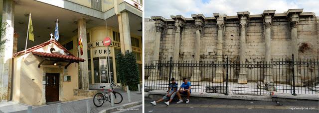 Rua Metropoleous e Biblioteca de Adriano, na Ágora Romana de Atenas