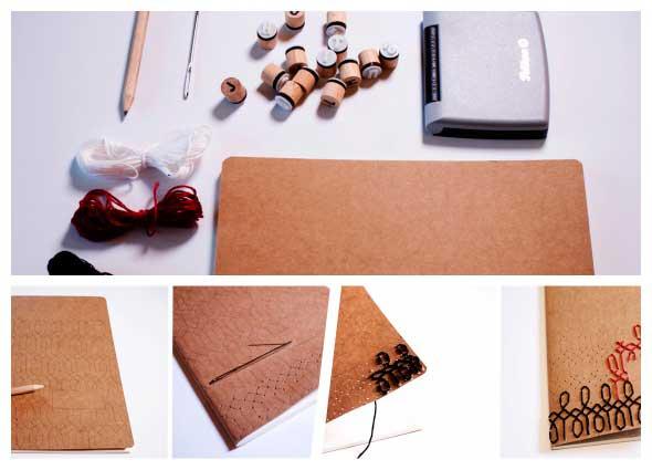 bordar las tapas de un cuaderno