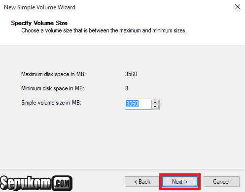 Tentukan volume ukuran partisi barunya