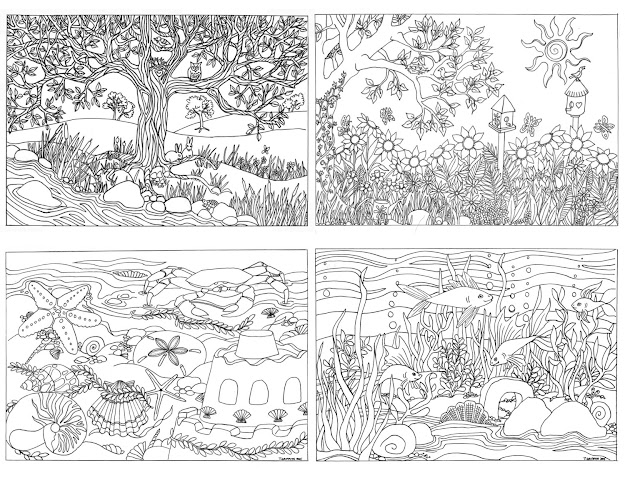 Set Of  Assorted Nature Scenes Coloring