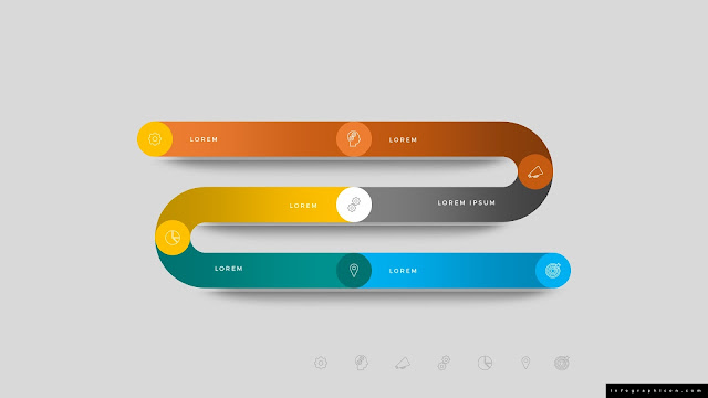 Editable Gradient Timeline Infographic Elements for PowerPoint in Color Background