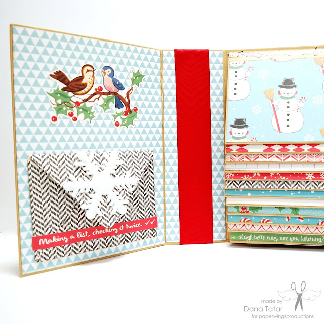 Handmade Patterned Paper Envelopes December Daily Album by Dana Tatar for Paper Wings Productions