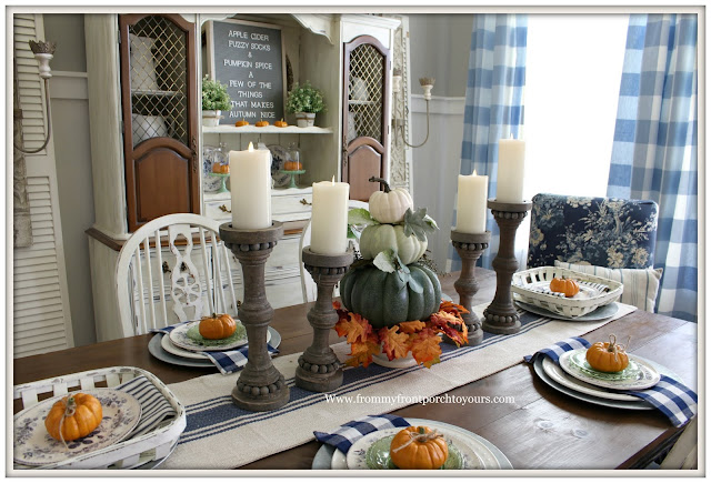 French Country Farmhouse Fall Dining Room-Place Settings-Tablescape-Pumpkin Topiary-From My Front Porch To Yours