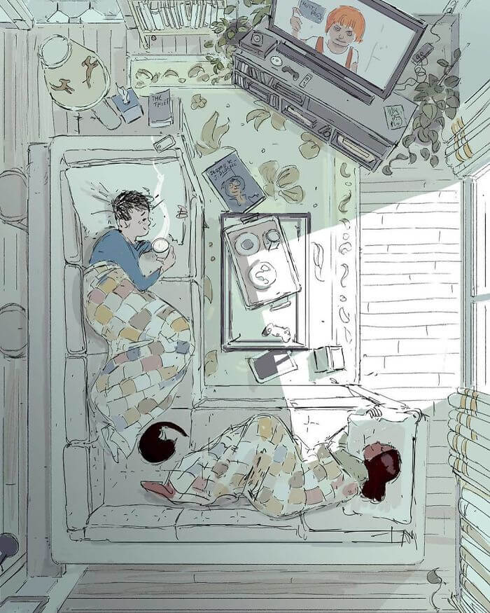 Man Creates Heartwarming Illustrations Of The Everyday Life With His Wife - Spending a perfect day doing nothing together