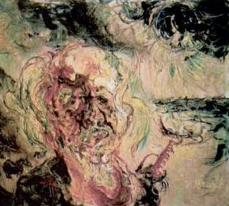 Lukisan Potret diri Affandi Yang Dikerjakan dengan gaya Ekspresif pelototan