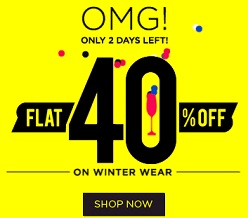Flat 40% Off on Winter Wear @ Jabong